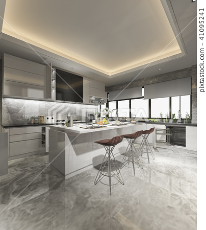 beautiful modern kitchen with dining bar 41095241