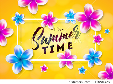 Its Summer Time illustration with flower on sun yellow background. Tropical Holiday typographic 41096325