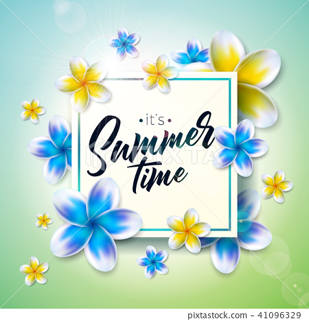 Its Summer Time illustration with flower on nature green background. Tropical Holiday typographic 41096329