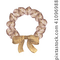 Autumn wreath from dry colored leaves and bow 41096988