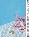 종이의 감촉 기와 자고있는 고양이 벚꽃 41097599