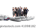 Robotic hand holds group of business people. 3d rendering 41098182