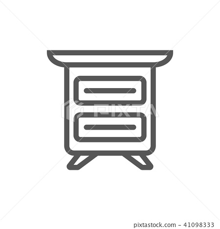 Bedside table isolated icon in linear style 41098333