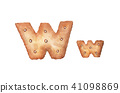 Cookie letter W on white background. 41098869
