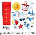 summertime illustration set of beach items 41100202