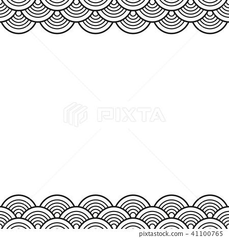 Black Traditional Wave Japanese Chinese Border Stock