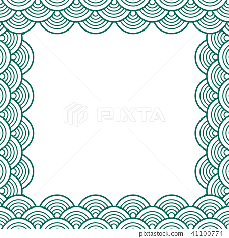Green Teal Traditional Wave Japanese Border Stock Illustration