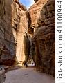 The Siq - ancient canyon in Petra, Jordan 41100944