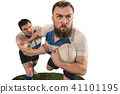 The silhouette of two caucasian rugby man player isolated on white background 41101195