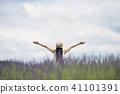 라벤더 밭과 여성 41101391