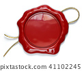Red wax seal or stamp with copy space  41102245