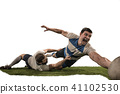 The silhouette of two caucasian rugby man player isolated on white background 41102530
