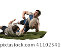 The silhouette of two caucasian rugby man player isolated on white background 41102541