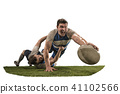 The silhouette of two caucasian rugby man player isolated on white background 41102566