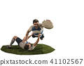 The silhouette of two caucasian rugby man player isolated on white background 41102567