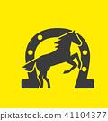 Running horse black silhouette 41104377