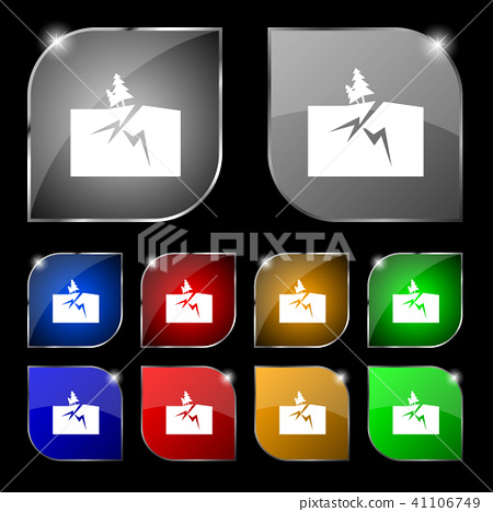 Property insurance icon sign. Set of ten colorful 41106749