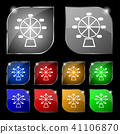Ferris wheel icon sign. Set of ten colorful button 41106870