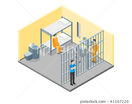 Modern Prison Interior with Furniture and People Isometric View. Vector 41107220