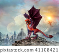 Red dragon scene 3D illustration 41108421