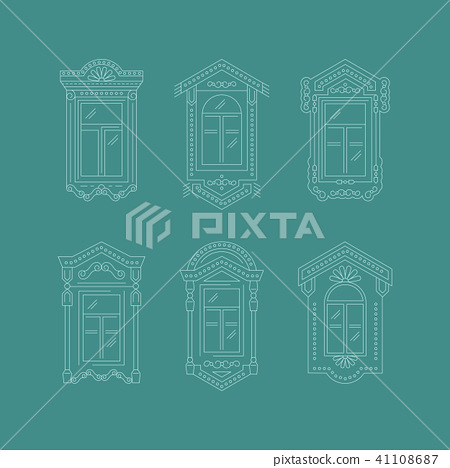 Retro Window icon, Window vintage frames. Isolated thin line icons, Vector illustration 41108687