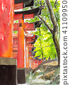 "Watercolor picture ""Fushimi Inari Shrine"" 41109950"