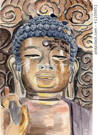 "Watercolor painting ""Great Buddha of Gifu"" 41109951"