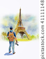 France, Eiffel tower and One man tourist, painting 41111148