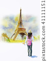 France, Eiffel tower and woman tourist, painting 41111151