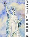 Watercolor painting The Statue of Liberty. 41111153