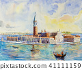 Venice Italy with historic gondola view. painting 41111159