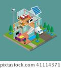 Isometric 3d Modern green eco home 41114371
