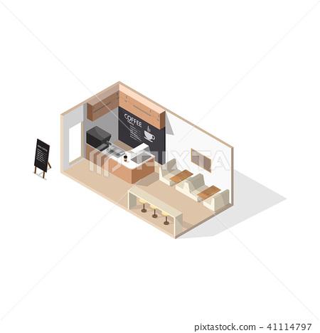 Isometric Low Poly Coffee Shop 3d Interior Stock Illustration 41114797 Pixta