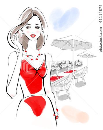 ชุดสุภาพสตรีสวยสีแดง 41114872