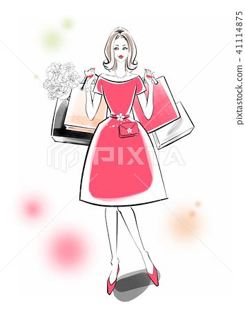 購物紅色禮服 41114875