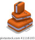 Set of orange luggages on white 41116103