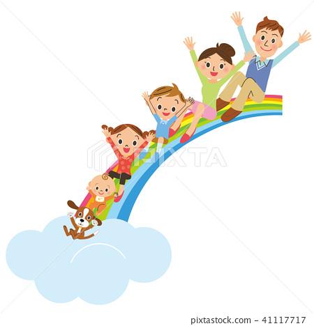 一個家庭坐在彩虹上 41117717