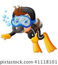 Cute boy snorkeling  41118101