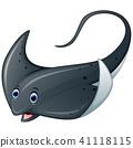 Cartoon marine stingray fish  41118115
