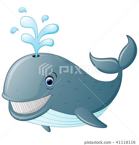 Illustration of cute cartoon whale  41118116
