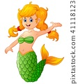 Cute mermaid cartoon  41118123