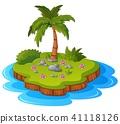 cartoon coconut island 41118126