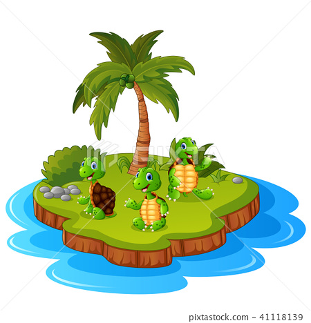 Tropical island with turtle  41118139