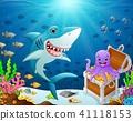 Illustration of shark under the sea  41118153