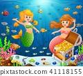 Illustration of a mermaid under the sea  41118155