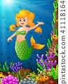 Illustration mermaid under the sea  41118164