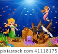 Illustration mermaid under the sea  41118175