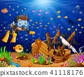 Illustration of diver under the sea  41118176
