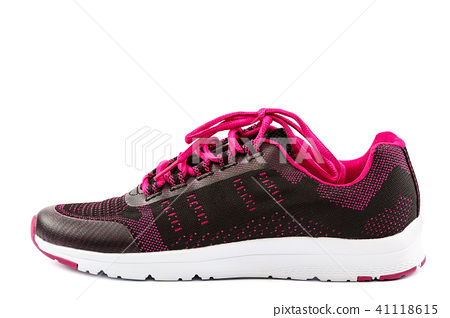 Stylish pink sneakers isolated on white background 41118615