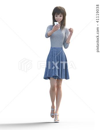 看一个抽杀姿势的一个长发少妇摆在3DCG例证材料 41119038